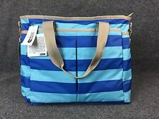 NWT LeSportSac Ryan Blue Striped Baby Girl Boy Diaper Changing Travel Tote Bag