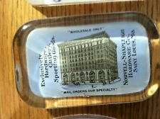 NORVELL SHAPLEIGH HARDWARE CO ST LOUIS BUILDING GLASS ADVERTISING PAPERWEIGHT