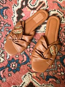 TRENERY soft brown leather 'Queenie' buckle slides sz 39 | NEW