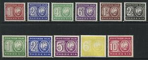 Rhodesia 1966-73 2 sets of Postage Dues mint o.g. hinged