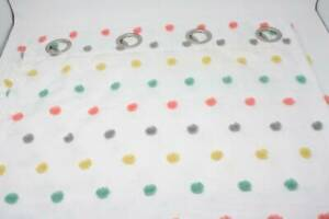 White Curtain Panels (2) 50 x 83 Rainbow Color Pompoms Silver Rings For Hanging