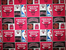 CHICAGO BULLS NBA BASKETBALL CHECKED RED BLACK COTTON FABRIC FQ