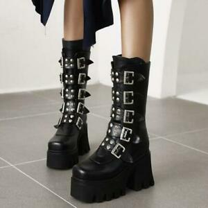 Womens Gothic Shoes Ankle Boots Chunky Mid Heels Fashion Punk Rivet Buckle Strap