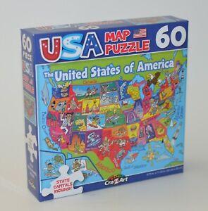 CRAZART USA MAP PUZZLE 60 PIECES KIDS UNITED STATES AMERICA CAPITALS 8.75 X 11.2