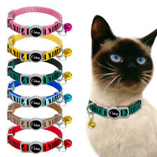 6pcs Zebra Pattern Pet Kitten Cat Breakaway Collars Safety Quick Release Bell