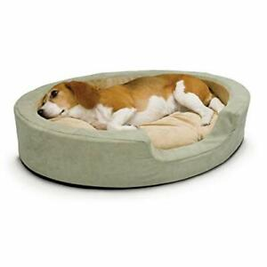 K&H PET PRODUCTS Thermo-Snuggly Sleeper Heated Pet Bed Sage/Tan Medium 26 X 2...