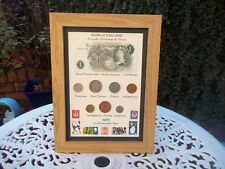 54th Birthday 1966, £1  Note, 7 Coin & Stamps Framed Set, Unique Gift