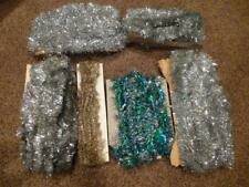 Vintage Garland Tinsel Silver Blue Gold Metal Victorian Gently Used 72' total