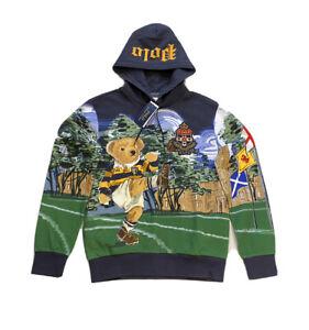 Polo Ralph Lauren Football Rugby Kicker Bear Hoodie Sweatshirt Sweater Men's M