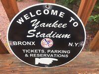 """NEW YORK YANKEES STADIUM BASEBALL HEAVY PORCELAIN SIGN 12"""""""