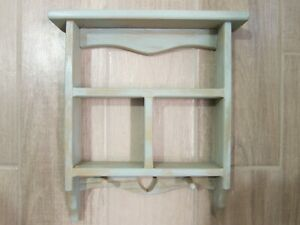 Vintage Wooden Shelf with Heart Cut-Out Pegs Rustic Country Farmhouse Décor