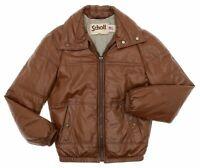 Vintage SCHOTT Leather Jacket Small 36 Mens DOWN FILLED Vtg Bomber Puffy JACKET