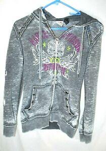 HARLEY DAVIDSON Full Zip Up Gray Hoodie Sweatshirt Women's Size Small Skull