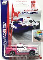 Majorette Ford Mustang Boss Dubai Ambulance Pink 1/61 204A Free Display Box