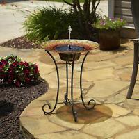 Birdbath Outdoor Solar Powered Garden Fountain Bird Bath Water Jet Pedestal Bowl