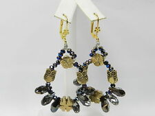 Smoke Stone Owl Chandelier Earrings