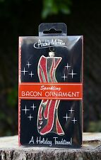 Archie McPhee Sparkling Bacon Ornament Strip Meat Red Glitter Gold Tone 2011