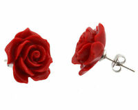 Red rose flower coral earrings fashion jewellery