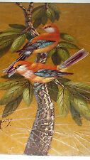 ORIG. GRIS OIL PAINTINGS ON LEAVES  AUDUBON BIRDS OF PARADISE 8 PCS. FOR $700usd