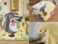 Double Layer Anime My Neighbor Totoro Soft Plush Kids Blanket Bed Throw Quilt