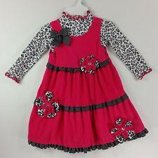 Bonnie Jean Girls 2 Piece Dress Size 4 Pink Black White Leopard Polka Dot