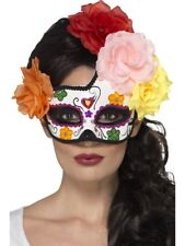 Day of the Dead Crescent Eyemask Multi-Coloured with Roses Ladies Fancy Dress