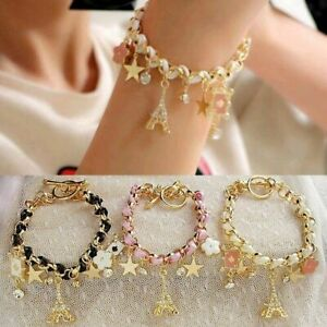 Gold Crystal Love Heart Star Paris Charm Stainless Steel Bracelet Rhinestones