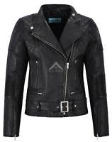 Charlie Ladies Leather Jacket Black Lambskin Quilted Shoulder Biker Style Jacket