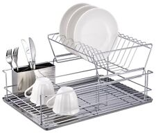 "Home Basics NEW 2-Tier 3 Piece 18.75"" x 9"" Silver Steel Dish Drainer - DR30245"