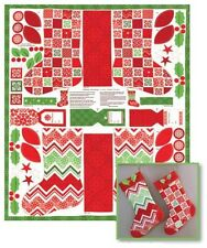 "JOY Christmas Stocking Moda Fabric Panel 36"" x 44"" ~ Sew 2 Stockings!"