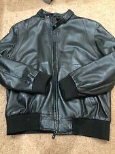 DUFFER ST GEORGE : Black Leather Bomber