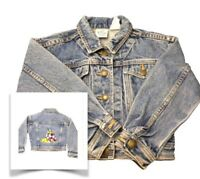 Disney Store Kids Small Jean Denim Jacket Embroidered Mickey Goofy Minnie Pluto