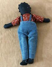 "15"" Folk art African American doll cloth hand made boy overalls Louisiana"