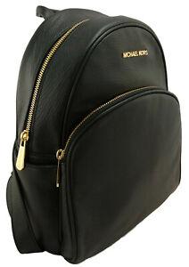 Michael Kors Abbey Backpack Bag Black Leather & Gold Tone Medium Womens RRP £310