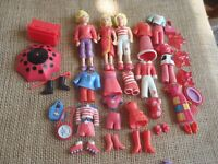 "Polly Pocket Dolls Lot ""Colors of the Rainbow"" Red Pet Clothes Rubber 6-73"