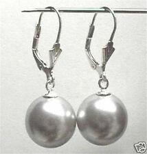 12MM Grey Shell Pearl Round Beads Drop Earrings AAA+