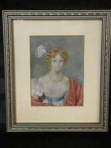 Antique Miniature Portrait Of A Pretty Young Lady In A Gilt Frame