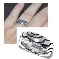 Bague anneau épais en argent massif 925 motif gravé T 52 bijou ring