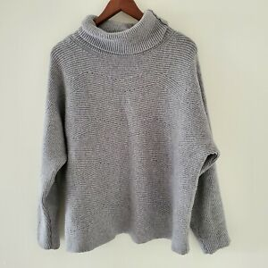 PQ The Label M Grey Knit Jumper/Sweater High Roll Neck Cosy/Warm
