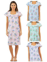 Casual Nights Women's Lace Short Sleeve Nightgown Stripes And Floral Print