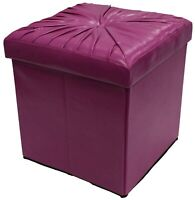 Ottoman Fuschia Pink Pouffe Storage Box Can be Sat On up to 150kg Faux Leather