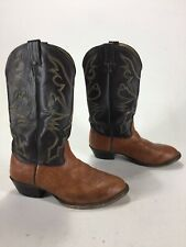 31df158701282 Mens Larry Mahan Bull Hide Cowboy Boots Peanut Brittle Brown Size 9.5