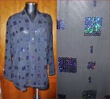 Vtg 90s SHEER Chiffon Sequin Embroidered cocktail Party Blouse Top Shirt sz M