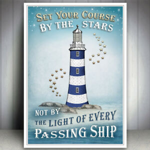 SEASIDE ART PRINT SEA OCEAN INSPIRATIONAL QUOTE PICTURE VINTAGE LIGHTHOUSE STARS