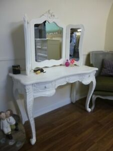 French Bordeaux Dressing Table In White - Shabby Chic Style Vanity Unit