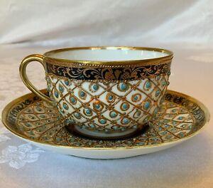 Nippon Gilt & Jeweled Cup & Saucer c.1891-1911