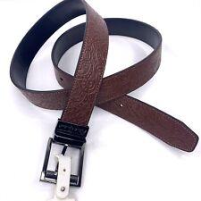 Robert Graham Mens Belt Size 44, Reversible Leather Western Embossed Black/Brown