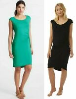 Ladies Ex M&S Soft Pull on Twist Front Summer Beach Dress Jade or Black BNWOT