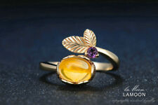 18K Gold Plated Sterling Silver Ring 100% Natural Oval Citrine Gemstone