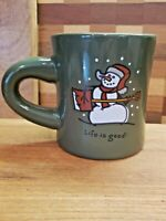 LIFE IS GOOD Mug Snowman with Shovel Green
